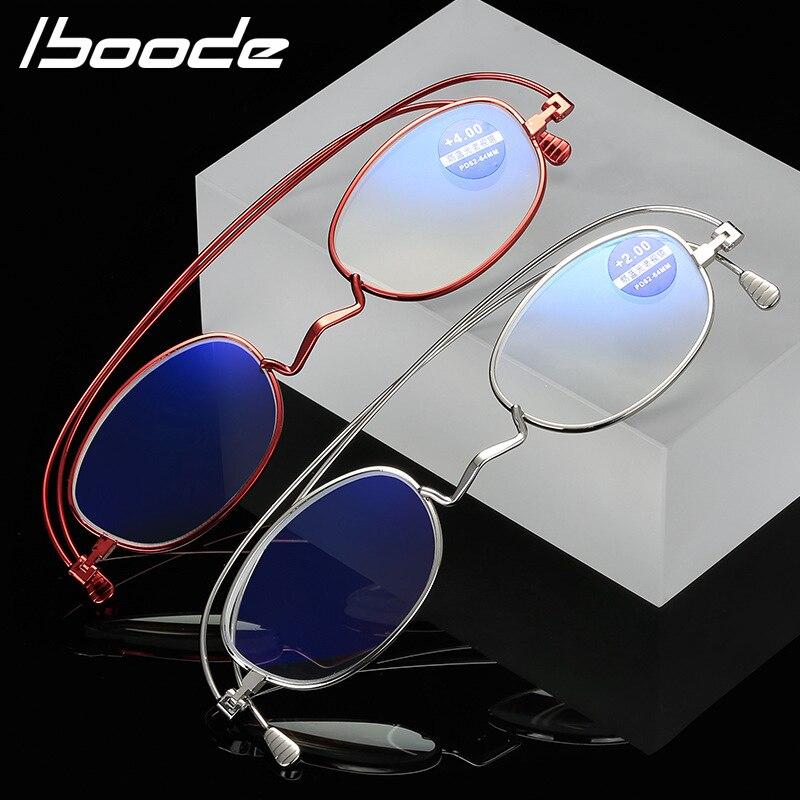 Iboode Anti Blu di Blocco Luce Occhiali Da Lettura Delle Donne Degli Uomini di Piazza 360 ° gradi di rotazione Occhiali Da Presbite Diottrie + 1.0 a 3.5