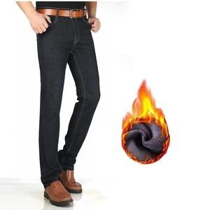 Image 3 - Męskie zimowe jeansy 2020 proste grube ciepłe bardzo długi duże wysokie ubrania spodnie dżinsowe męskie spodnie kowbojskie czarne męskie jeansy z polaru