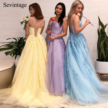 Sevintage A Line Spaghetti Strap Tulle Long Prom Dresses Square Collar Criss-Cross Back Evening Gowns with Train robe de soiree цена 2017