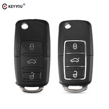 Раскладной чехол KEYYOU с 3 кнопками для Volkswagen Vw Golf Passat Beetle Polo Bora, Сменный Чехол для автомобильного ключа