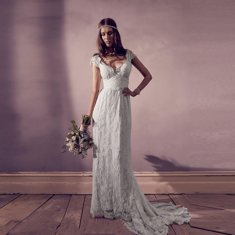 Top Quality 2019 Vintage Lace Bohemian Wedding Dress Sexy V Neck Cap Sleeves Backless Bridal Dress Boho Beach Summer Bridal Gown