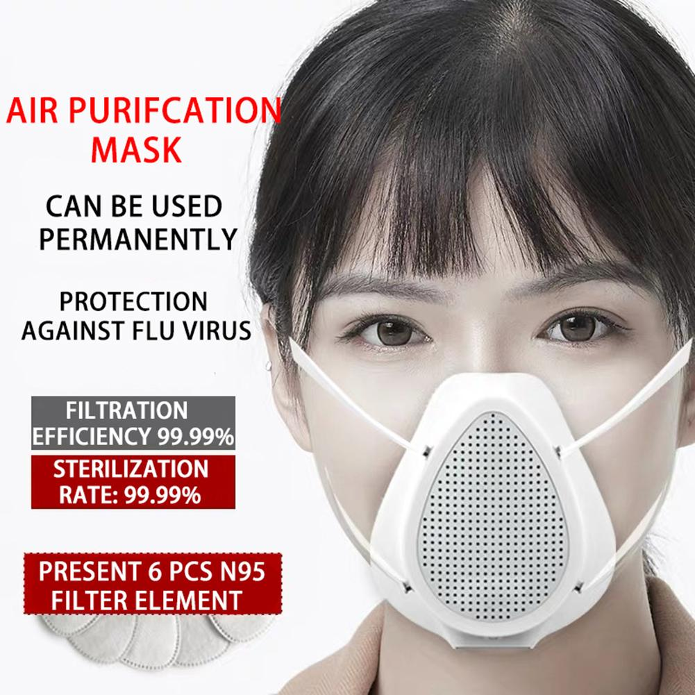 PM 2.5 Anti Formaldehyde Respiratory Fliters Replaceable Electric Mouth Mask Efficient Purification System Independent Air Inlet