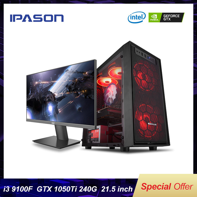 IPASON I3 9th 8100 Upgrade 9100F/GTX1050TI High-End Gaming Graphics Card PUBG CSGO/Fortnite Computer Desktop Assemblly Gaming PC