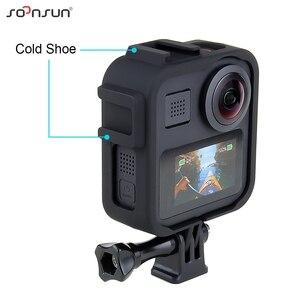 "Image 3 - SOONSUN 표준 보호 프레임 케이스 하우징 케이스 쉘 커버 (GoPro Max Go Pro 액세서리 용 1/4 ""삼각대 장착 어댑터 포함)"