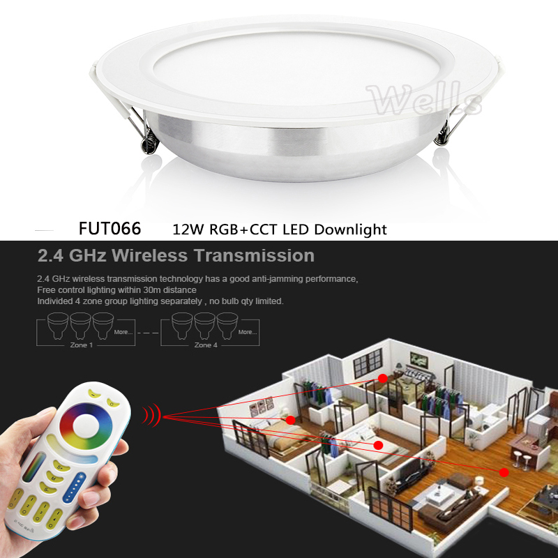 12W Miboxer RGB+CCT LED Downlight AC86-265V dimmable Round Led panel light &<font><b>FUT092</b></font> 2.4GHz 4 Zone Remote Controller image