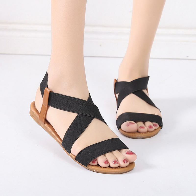 Summer Sandals Women Shoes 2020 New Comfortable Elastic Band Casual Shoes Woman Beach Sandals