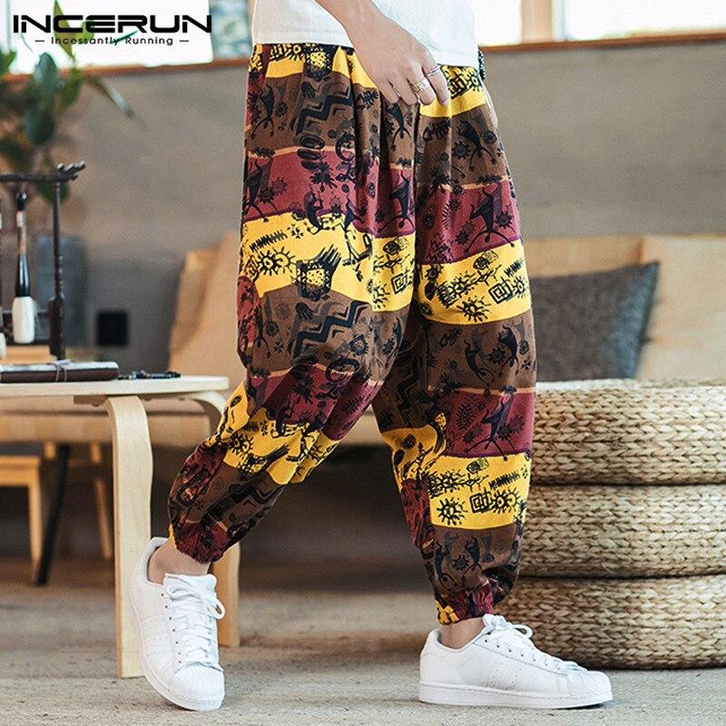 Men Printed Harem Pants Joggers Drawstring Drop-Crotch Trousers Men Loose Cotton Linen 2020 Casual Thai Pants Streetwear INCERUN