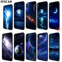 IYICAO Art Stars Moon Planet Soft Black Silicone Case for iPhone 11 Pro Xr Xs Max X or 10 8 7 6 6S Plus 5 5S SE