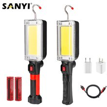 2-Mode COB LED latarka magnetyczna lampa do pracy USB ładowanie 18650 latarka przenośna latarnia Worklight na naprawa samochodów Camping