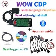 (Escudo original) 2021 nova vd ds150e cdp placa verde r5.0012 com bluetooth para delphis obd obd2 ferramenta de diagnóstico + 8pcs cabos do carro