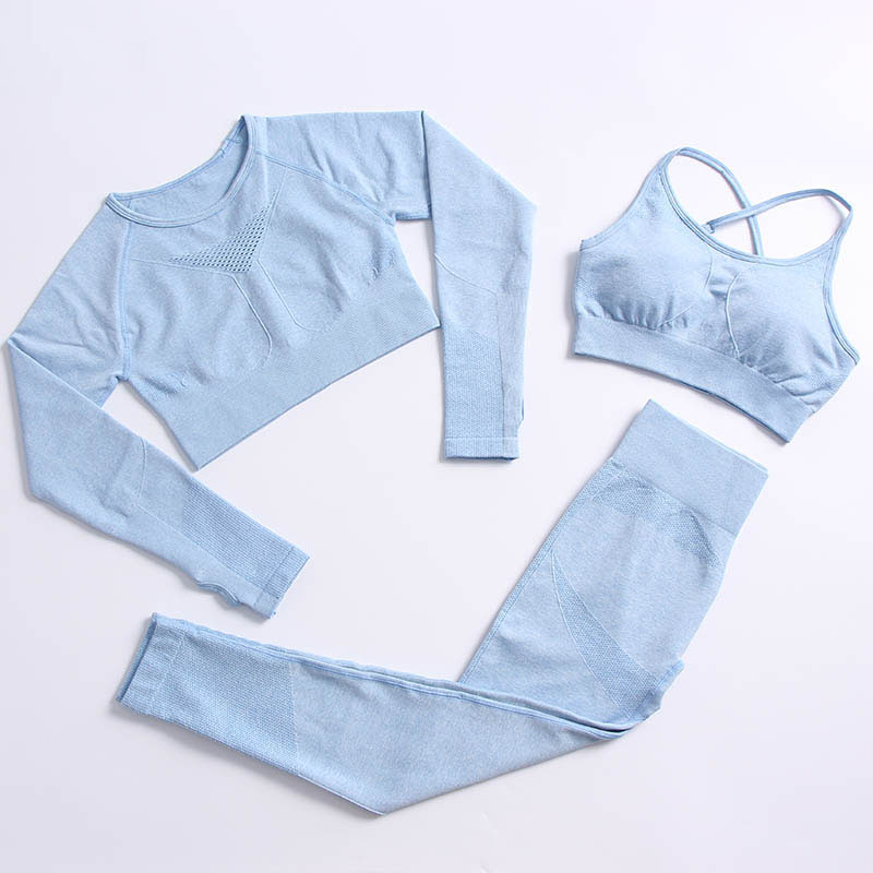 1/2/3PCS Female Athletic Fitness Suits Yoga Sets Women Tracksuits Workout Sportswear Gym Clothing Sports Bra Seamless Leggings 2