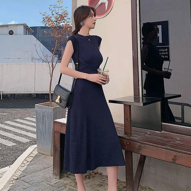2020 Summer Korean Women Bodycon Robe Knitted Maxi Dress Elegant Ladies Slim Sweater Sleeveless Long Party Dresses Vestidos S84 2