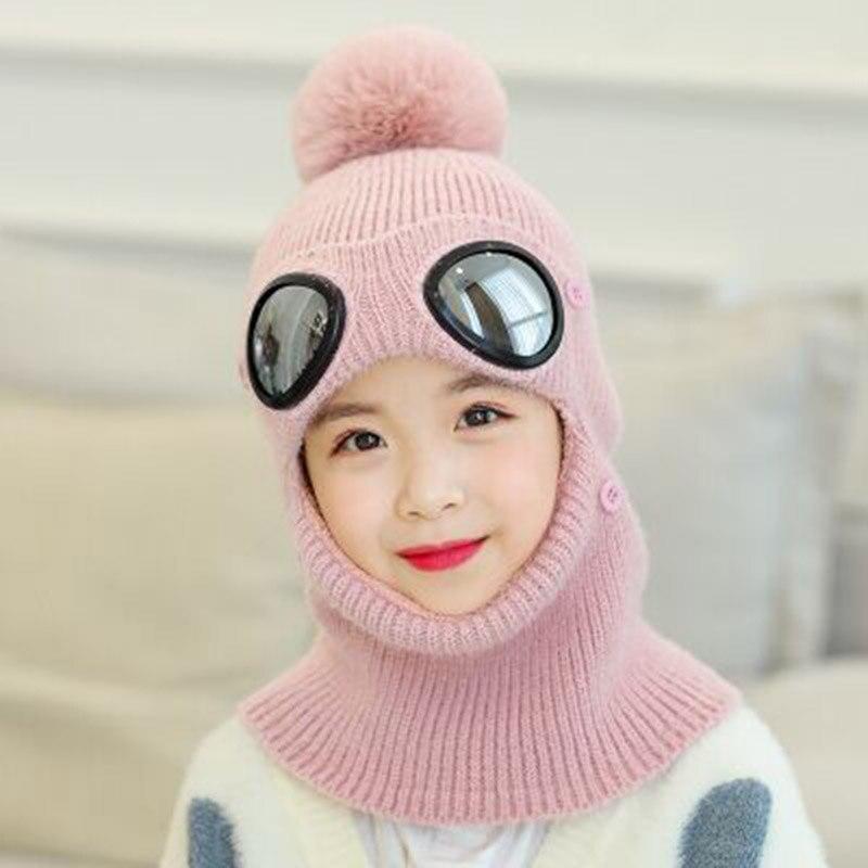 Детские зимние очки для девочек, вязаная Лыжная Шапка Кепка Балаклава маска Защита лица и шеи толстый шарф маска Skullies Beanies шапка вязаная