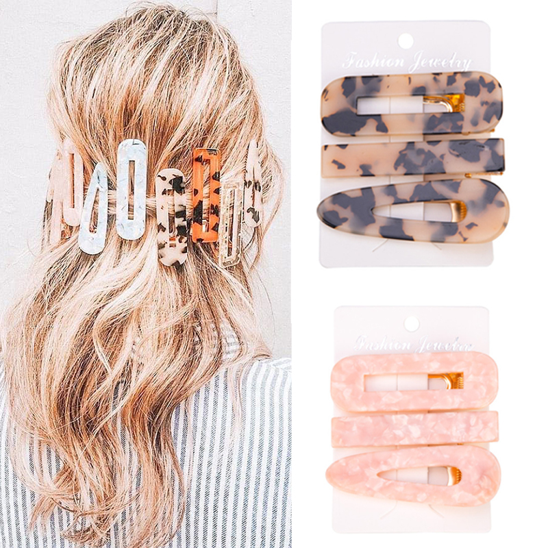 Hair-Clip Barrette Acetate Geometric Textured Marble Leopard Water-Drop-Duckbill Hollow title=