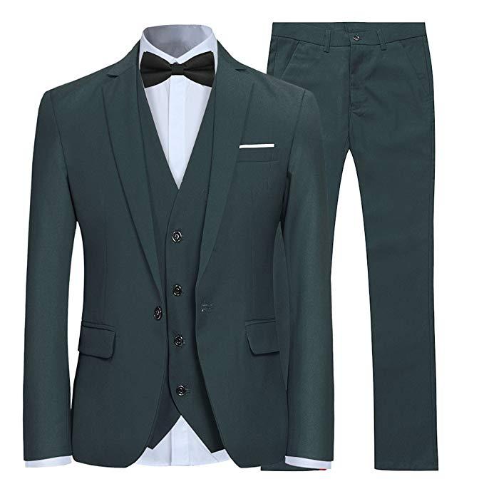 Dark Green Men's Slim Fit 3 Piece Suit One Button Blazer Tux Vest & Trousers