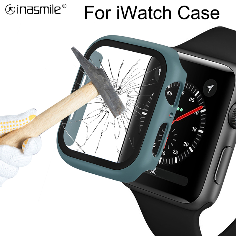 Elegant Watch Cover Case For Apple Watch Series 5 4 3 2 1 Band Case 42mm 38m 40mm 44mm Tempered Glass Protector For IWatch 4