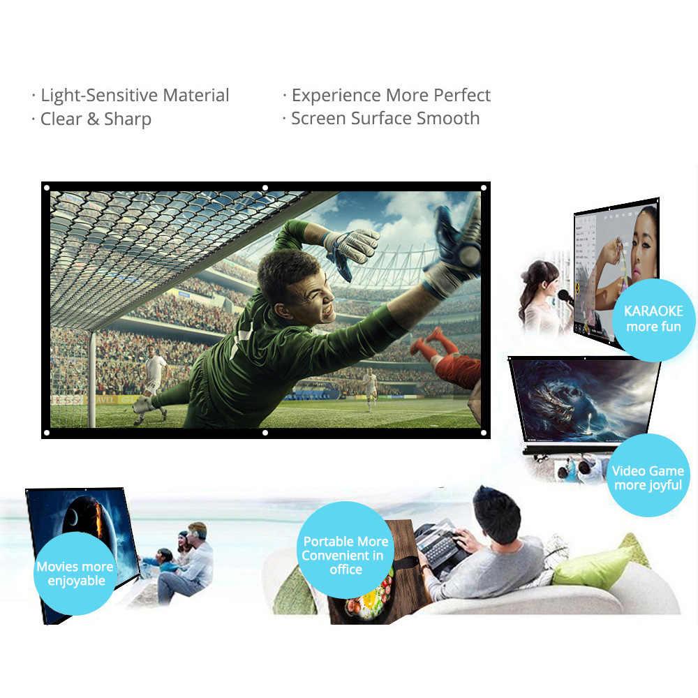 60/72/84/100/120 polegada tela do projetor hd 16:9 branco dacron diagonal tela de projeção de vídeo fixado na parede para cinema em casa