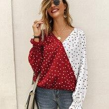 WHOHOLL 2019 Autumn Women Dot Polk Shirts New Print Stitching Point Long Sleeve Ladies Shirt Casual Fashion Slim