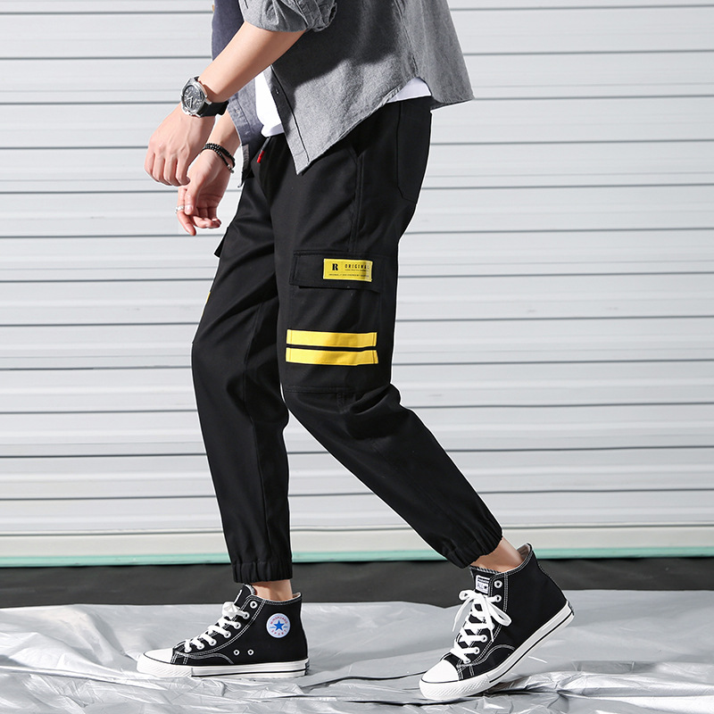 9105 MEN'S Overalls Slim Fit Beam Leg Black And White With Pattern Red Yellow Three-Color M-4ml Roll Gate