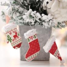 Christmas Stocking Pendant Tree Decoration DIY Xmas Character Plush Decora Party Accessory Home Decor