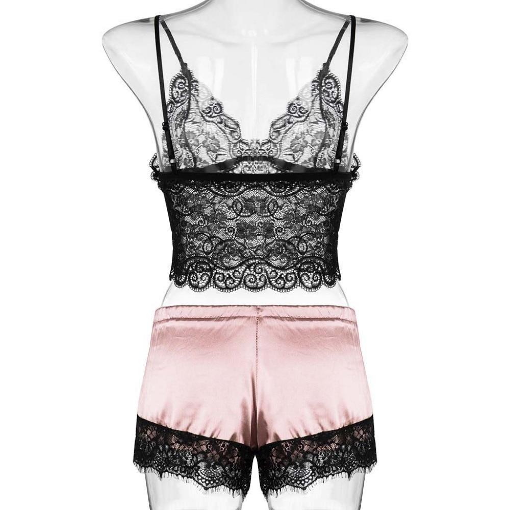 H6f219af39ee94f97a53470b1a617ac65p Camisola de encaje de satén con cuello en V para mujer, conjunto de pantalones cortos con lazo, lencería pijama, lencería sexy para tienda erótica #2N13