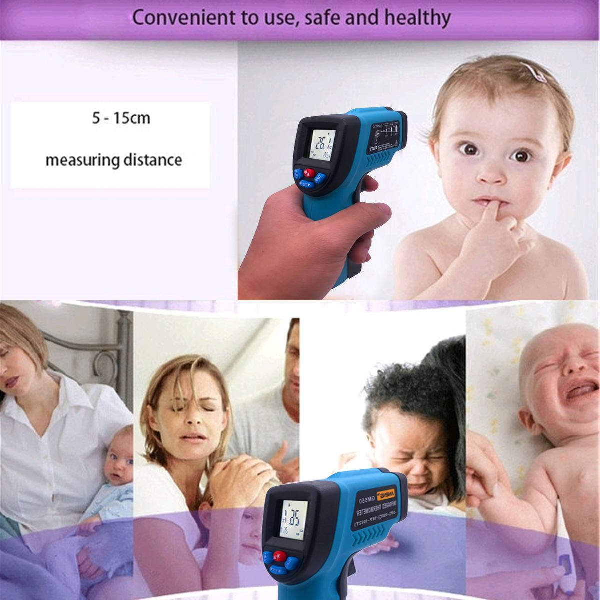 Baby Thermometer Digital Infrared Forehead Fever Body Thermometer Non-contact Medical Temperature Gun for Kids&Adults 1