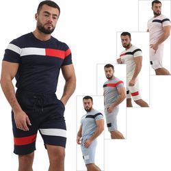 Новый мужской летний спортивный костюм, полосатые разноцветные шорты с коротким рукавом, спортивные удобные тонкие комплекты одежды, беспл...