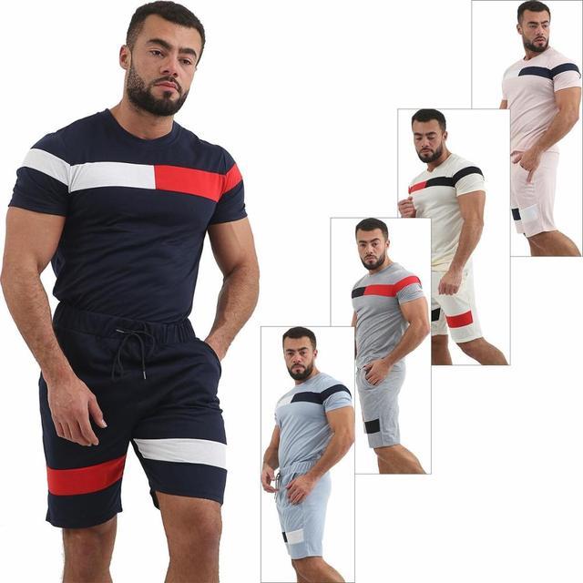 Nouveau hommes été survêtement rayé multicolore Collision à manches courtes Shorts sport confortable mince vêtements ensembles livraison gratuite