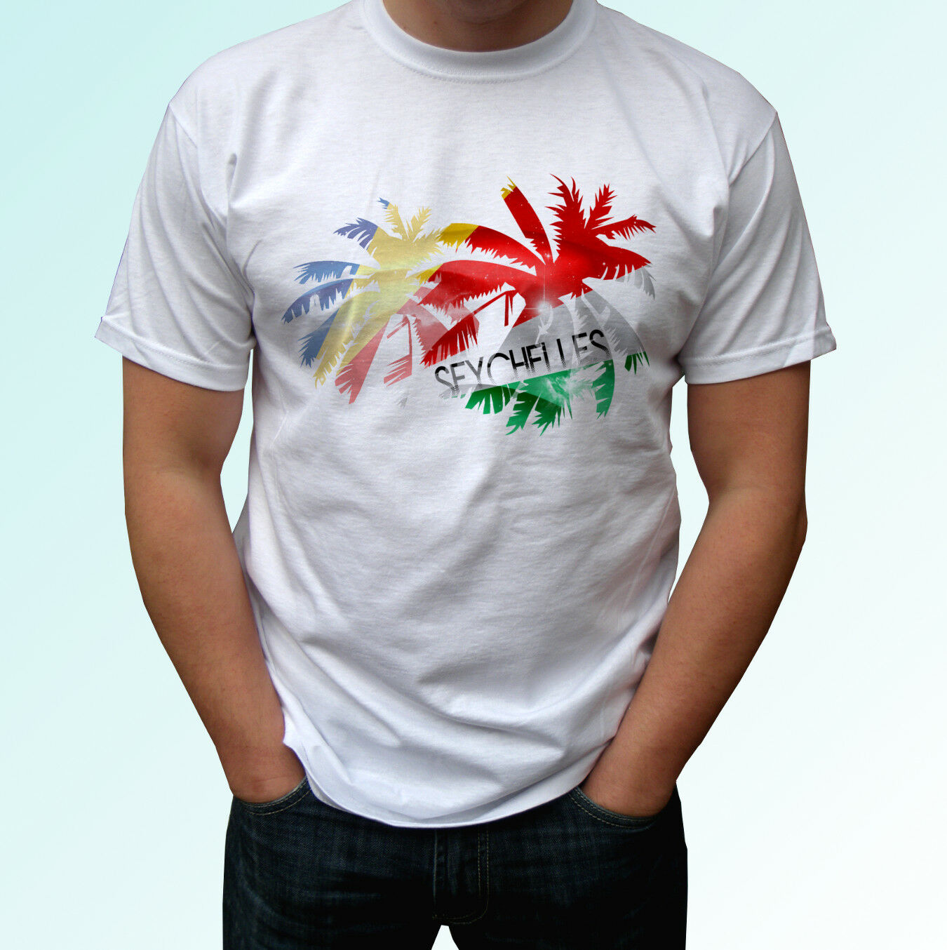 Seychelles Palm Flag - White T Shirt Holiday Top Design Mens Womens Kids Baby
