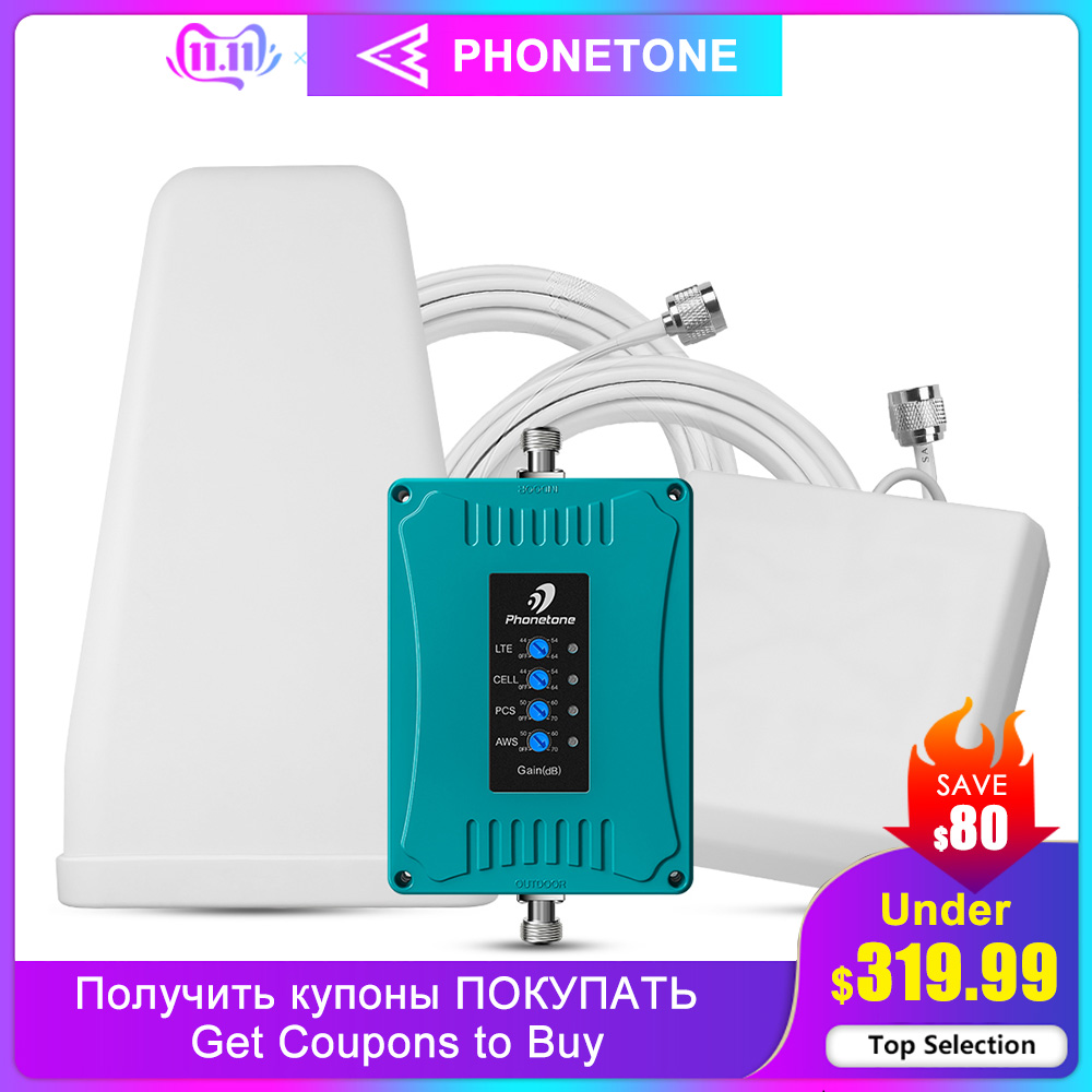 US/CA Cell Phone Signal Booster 850/1700/1900/700MHz Verizon AT&T Signal Booster 2G 3G 4G Repeater - Weak Signal For Voice/Data