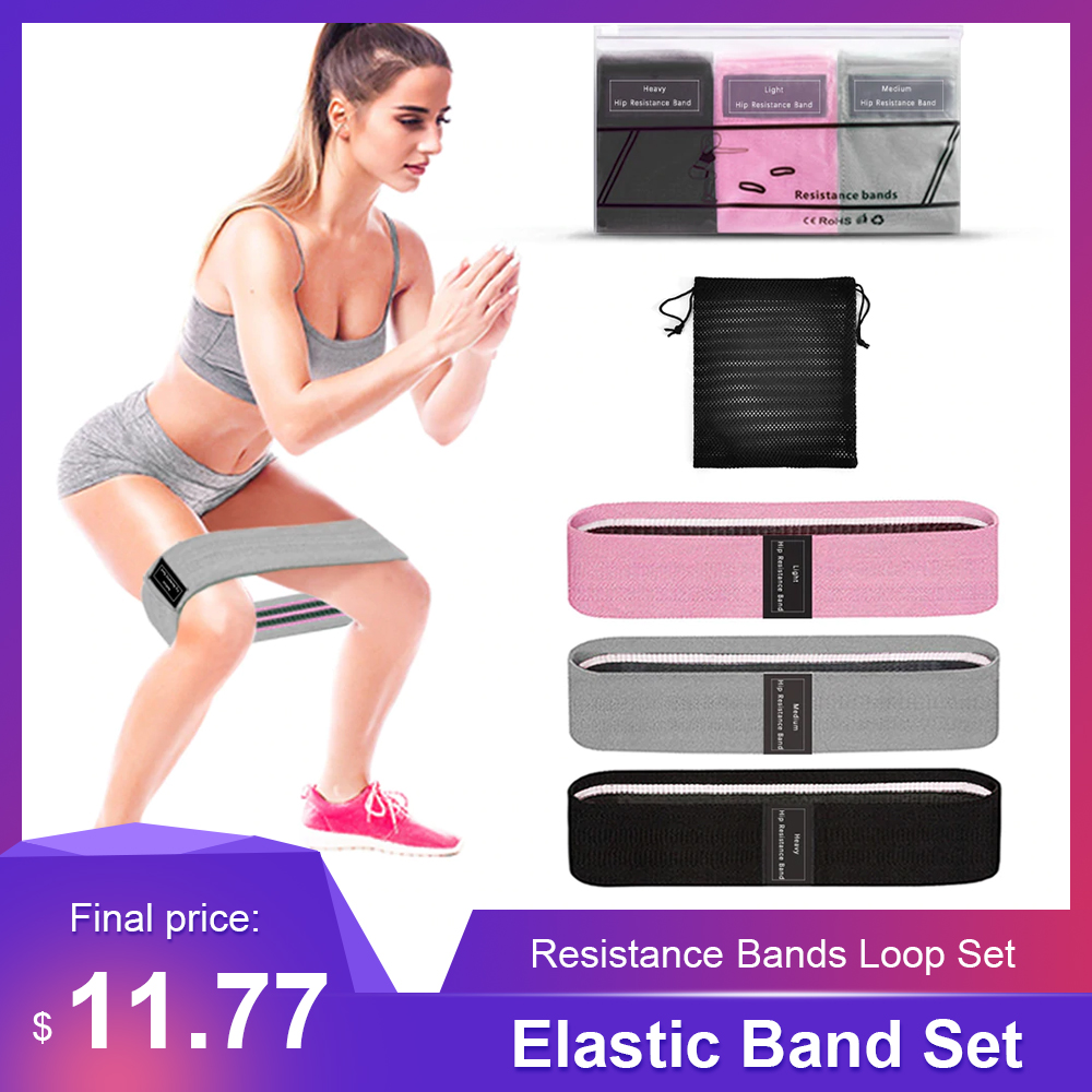 Fitness Equipment Sport Home Gym 3 PCS Sports Exercise Resistance Bands Loop Set Elastic Booty Band Set For Yoga Home Training