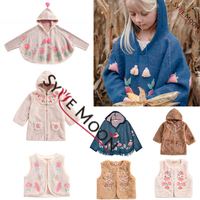Kids Jacket 2019 L&M Brand New Autumn Winter Girls Embroidery Beauty Flower Print Knit Velvet Coat Baby Child Outwear Clothes