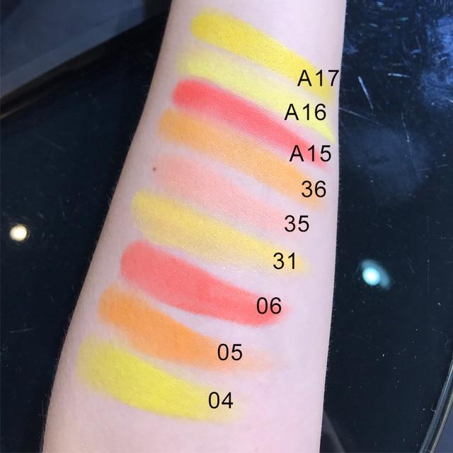 Color Salon Yellow coral Matte  Glitter Eyeshadow Powder Shimmering Colors Eye Shadow Palette Metallic Eye Makeup Cosmetic 3
