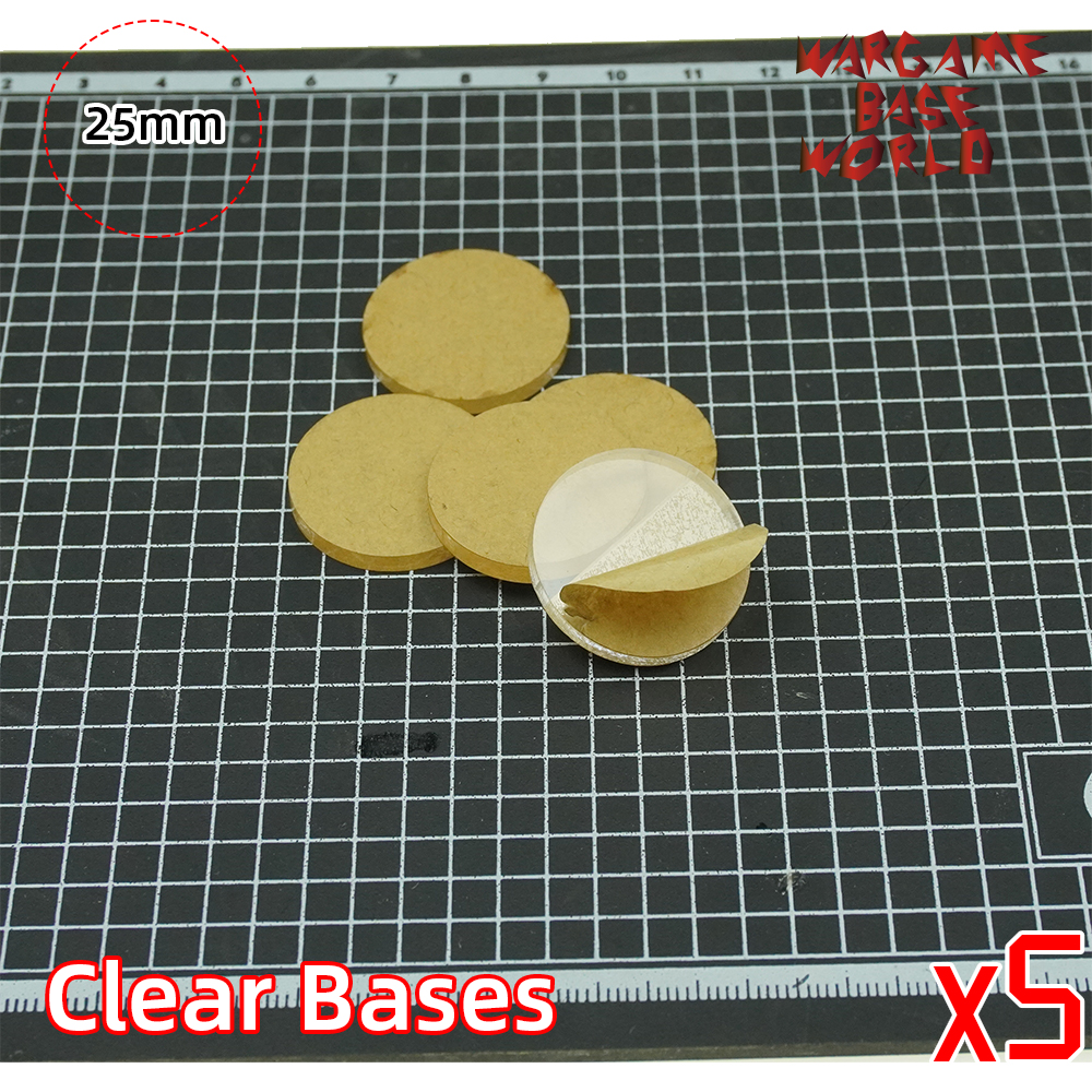 Wargame Base World - TRANSPARENT / CLEAR BASES For Miniatures - 25mm Clear Bases