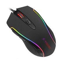 Mysz do gier przewodowa podświetlana RGB 6 programowalne przyciski nagrywanie makro 6400 DPI ergonomiczne myszy do gier przycisk spustu PC gracze