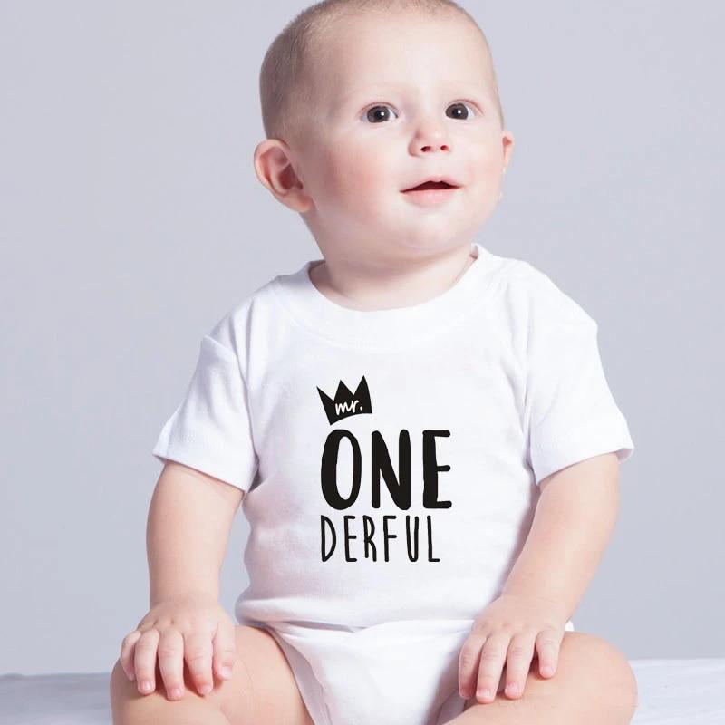 Cute Newborn Baby Bodysuit Baby Clothes Cotton Baby Mr One Derful Baby Boys 1st Birthday Body First Birthday Outfit For Boys Bodysuits Aliexpress