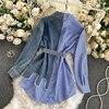 2021spring Autumn Women's Denim Shirt Color Contrast Patchwork Lace Up Blouse Shows Thin Versatile Top Fashion GD596 5