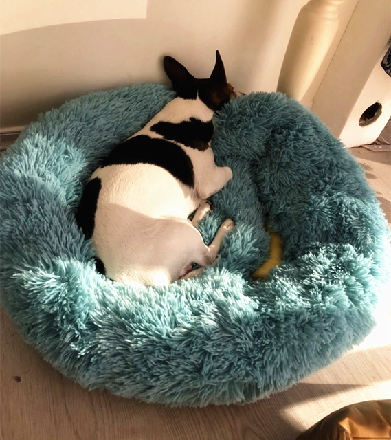 Long Plush Super Soft Dog Bed Pet Kennel Round Sleeping Bag Lounger Cat House Winter Warm Sofa Basket for Small Medium Large Dog 1