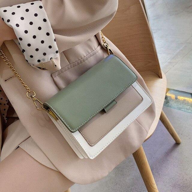 Mini Leder Umhängetaschen Für Frauen 2020 Grün Kette Schulter Einfache Tasche Dame Reise Geldbörsen und Handtaschen Kreuz Körper Tasche
