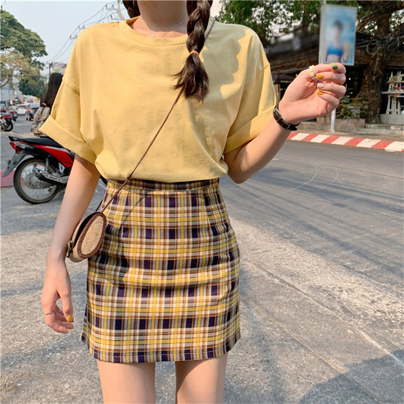 Fashion High Waist Skirts Womens Slim Temperament A Line Skirt Simple Style New Stitching Color Emprie Plaid Skirts