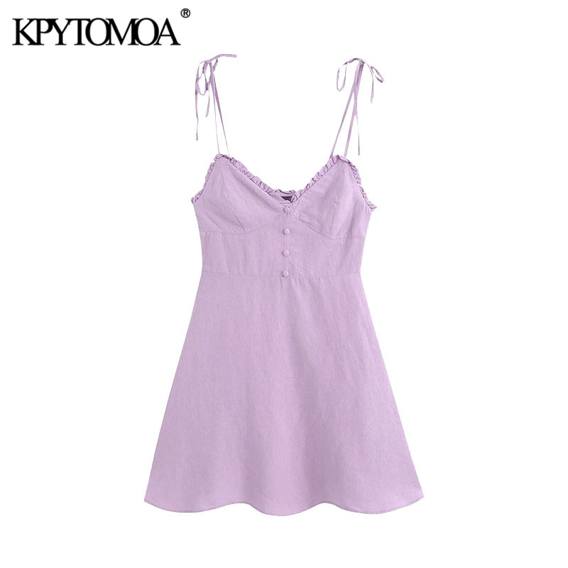 KPYTOMOA Women 2020 Chic Fashion Decorative Buttons Ruffled Linen Mini Dress Vintage Backless Bow Thin Straps Female Dresses