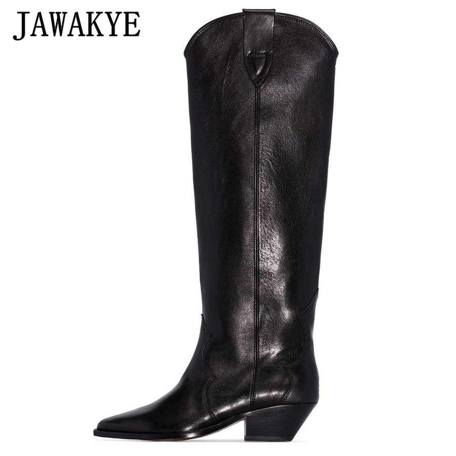New Dewina Western black genuine leather Knee high boots for women pointed Toe Flat winter long boots women Kitten heels Cowboy Knight boots botas mujer