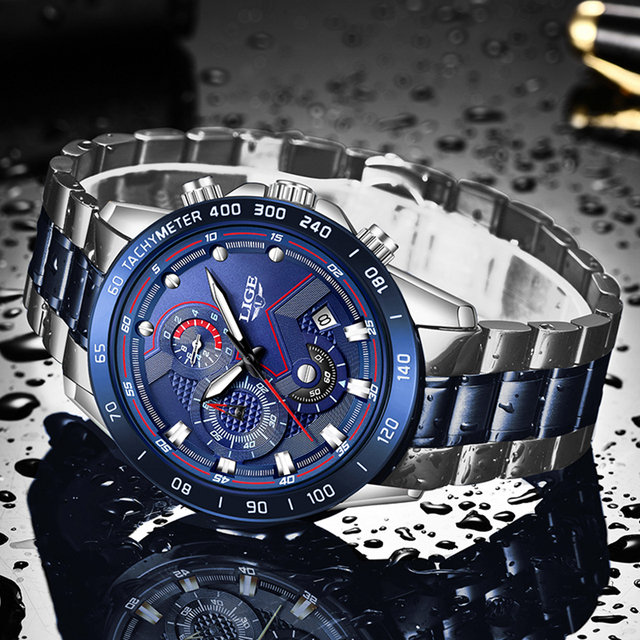 2020 New Fashion Men Watch LIGE Top Brand Analogue Clock Stainless Steel Waterproof Luminous Sports Watch Men Business watches