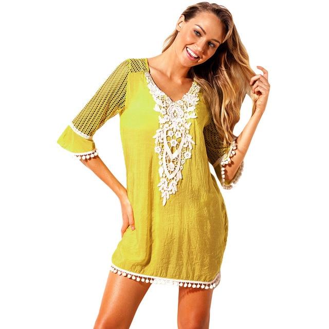 Fanceey Women Beachwear Summer Beach Dress Retro Multicolor Floral Tassel Tunic Beach Cover Up Dress Bikini Cover Up Pareo 6