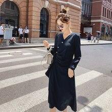 Женское платье с пышными рукавами в стиле Хепберн v образным