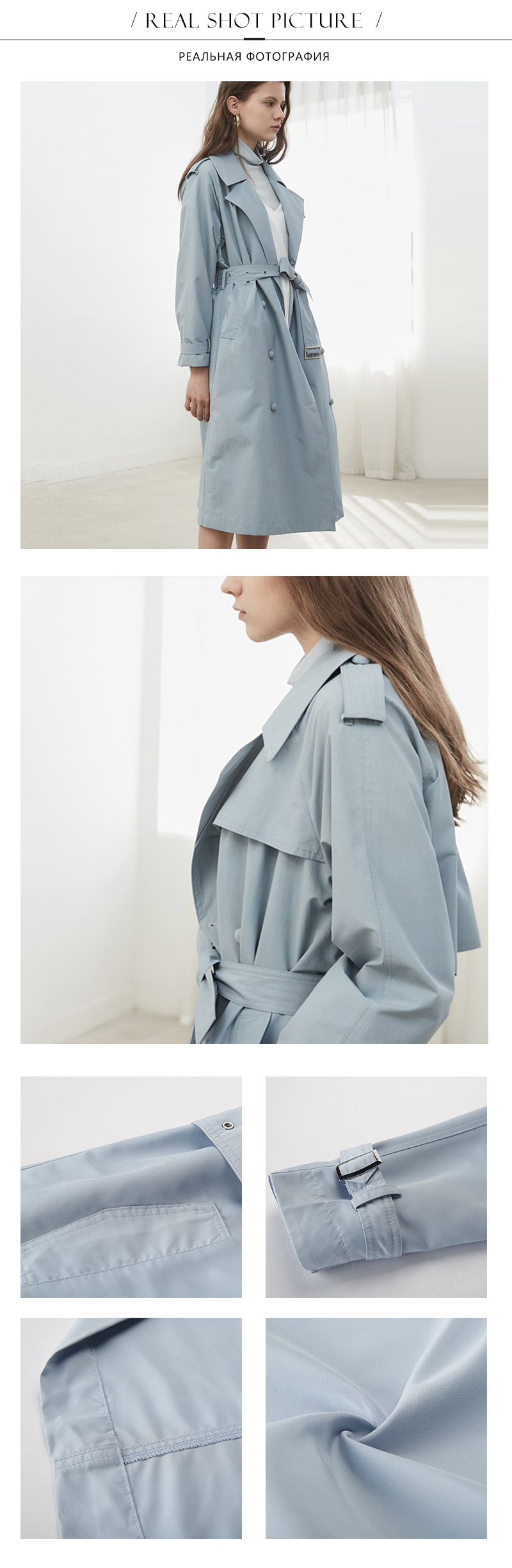 HDY Haoduoyi Women Casual Solid Color Double Breasted Outwear Sashes Office Coat Chic Epaulet Design Long Trench Coat Autumn 9