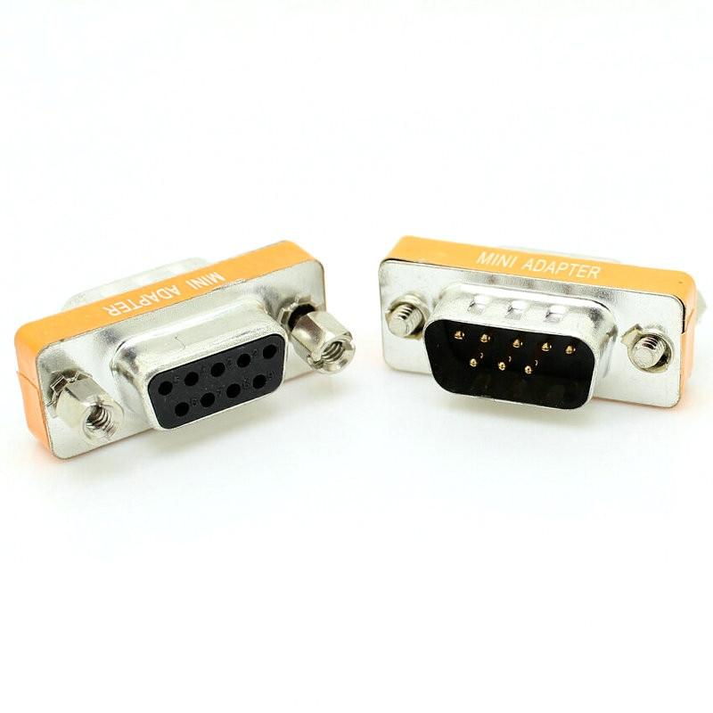 Female To Female DB9 9Pin Gender Changer Convertor Male To Male DB9 Cross Adapter Oranger Null Modem Mini