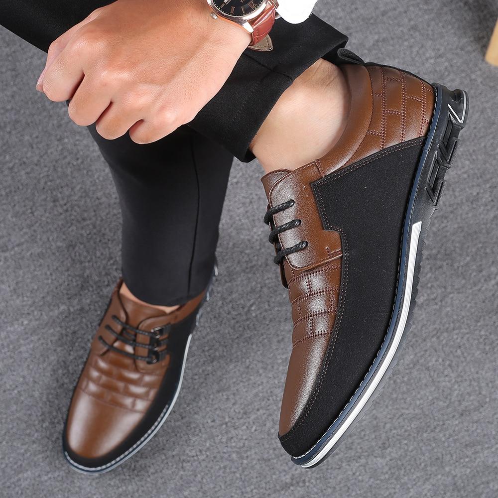 H6f22c87c32e74d608e92412df5b7e112C 2019 New Big Size 38-48 Oxfords Leather Men Shoes Fashion Casual Slip On Formal Business Wedding Dress Shoes Men Drop Shipping