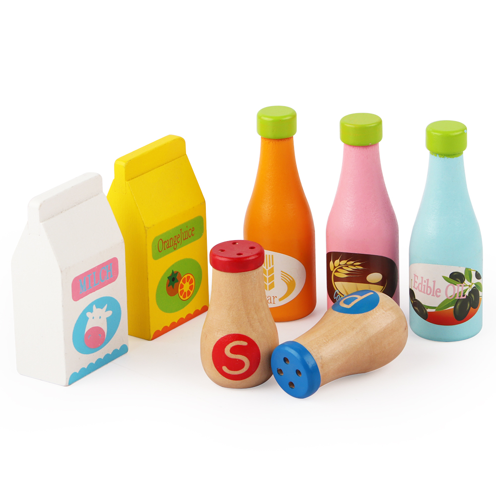 Wooden Cruet / Milk / Orange Juice / Marmalade Children Play House Role Playing Toy Wholesale Free Shipping