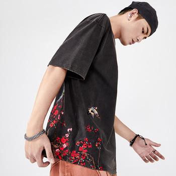 Nowa popularna marka z krótkim rękawem dla mężczyzn i kobiet z krótkim rękawem letnia koszulka z hip-hopem miłośnicy chińskiego stylu hafty z krótkim rękawem tanie i dobre opinie CN (pochodzenie) O-neck tops Tees Short sleeve Flanelowe COTTON Na co dzień Cartoon